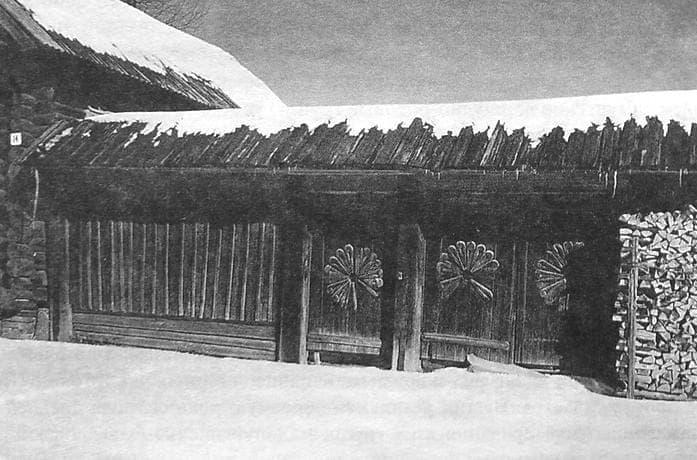 Удмуртские ворота - капка - срединной группы удмуртов, дер. Женвай Завьяловского р-на, 1996 г.
