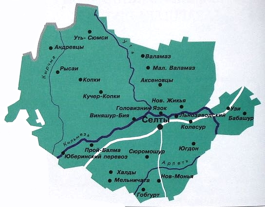 Карта Селтинского района УР.