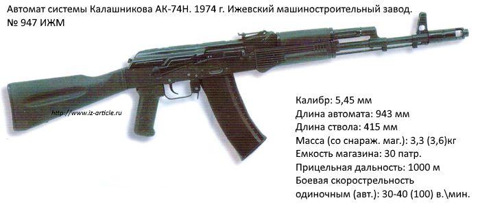 5,45-мм автомат АК-74Н. Зав. № 947, Ижевский машиностроительный завод, 1974 г.