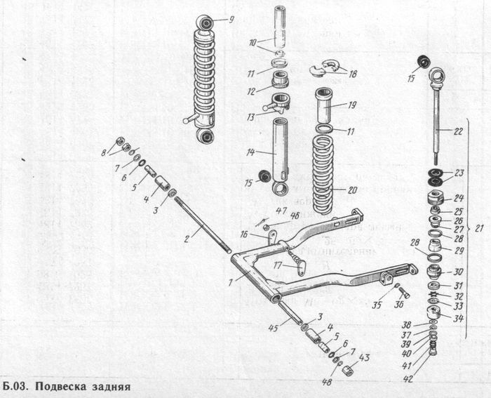 Детали задней подвески  мотоциклов ИЖ-Планета-5, -4, -3 и ИЖ-Юпитер-5, -4, -3.