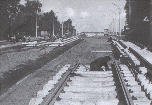 Укладка трамвайных путей по ул. К.Маркса. Ижевск.