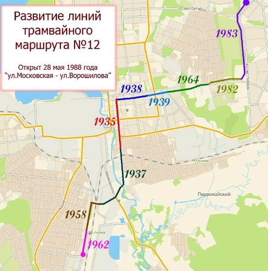 Развитие линий трамвайного маршрута №12. Ижевск.