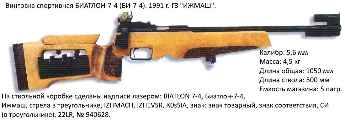 Винтовка спортивная БИАТЛОН-7-4 (БИ-7-4). 1991 г. ГЗ ИЖМАШ.