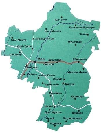 Карта Увинского района Удмуртии.