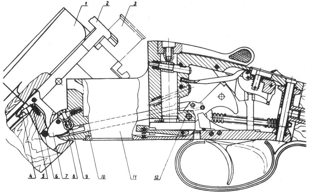 Взаимодействие деталей эжекторного механизма Иж-27Е.