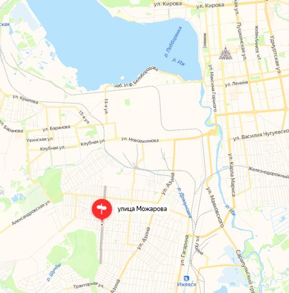 Улица Можарова Ижевск. Карта. 2021 год.
