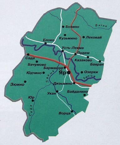 Карта Ярского района. Удмуртия.