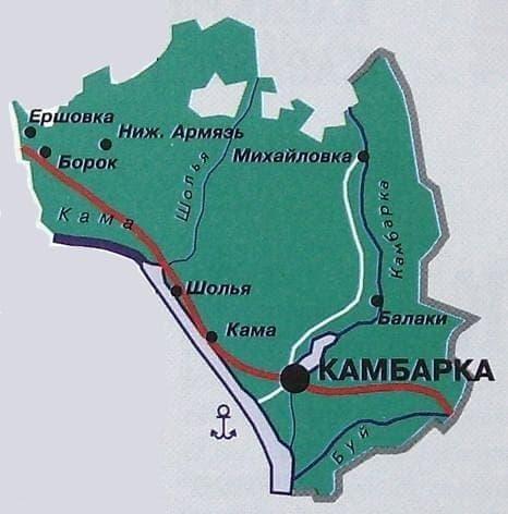 Карта Камбарского района. Удмуртия.