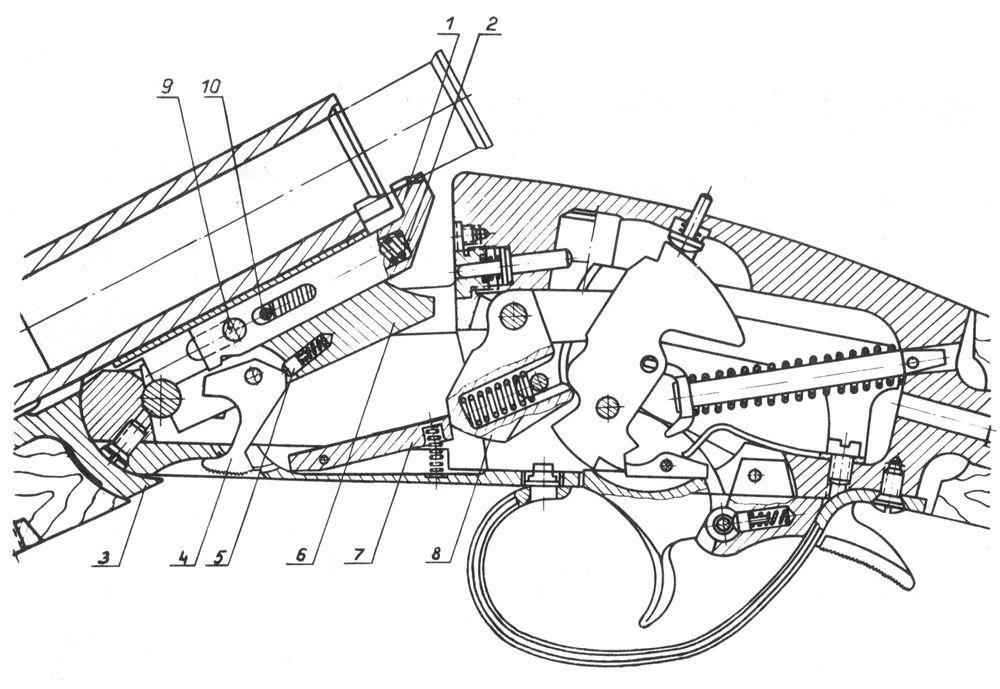 Положение деталей эжекторного механизма в открытом ружье Иж-18Е