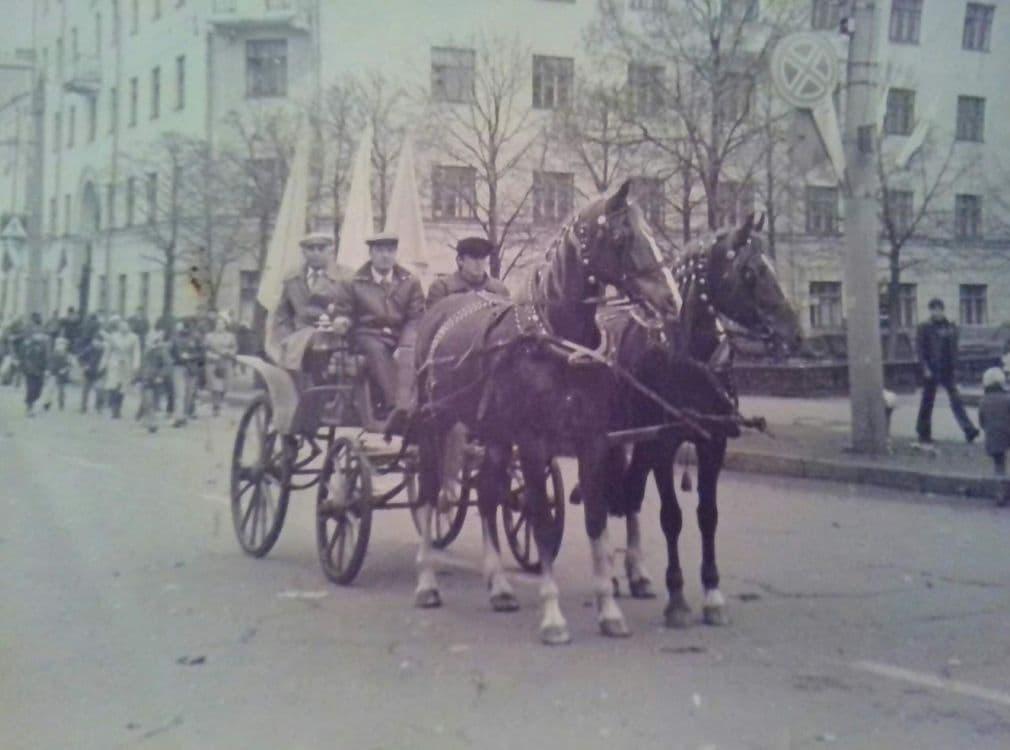 Лошади на первомайской демонстрации. Ижевск, 70-ые г.