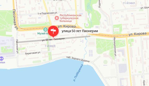Улица 50 лет Пионерии Ижевск. Карта. 2021.