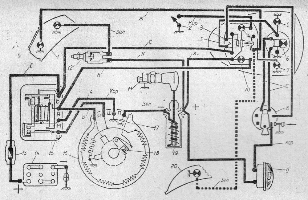 Схема электрооборудования мотоцикла ИЖ-П (ИЖ-56, ИЖ-56К)