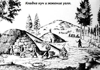 Кладка куч и жжение угля. Старый Ижевск.