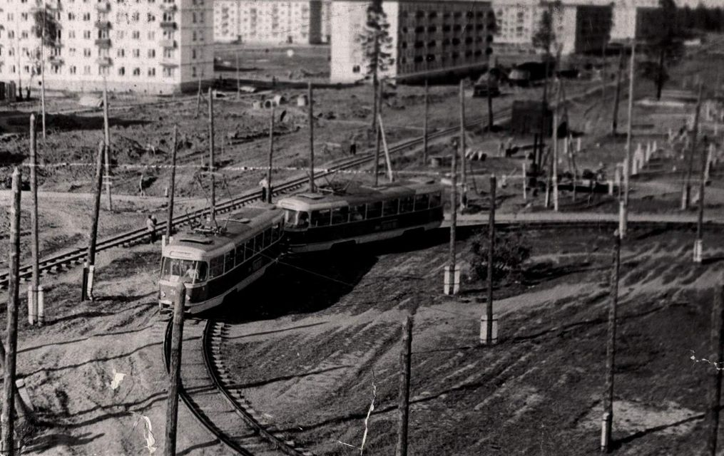 "Трамвайное кольцо на ""Буммаше"", конец 1960-х. Ижевск."