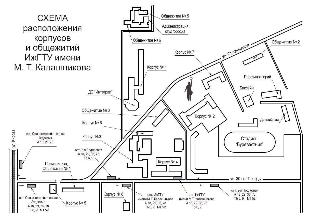 Схема расположения корпусов и общежития ИжГТУ имени М.Т. Калашникова. Ижевск 2018 год.