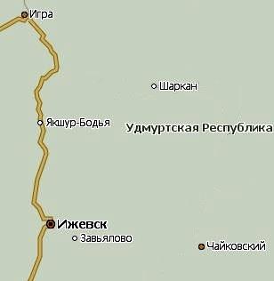 Село Шаркан Удмуртия. Карта.