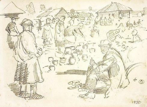 Н. А. Косолапов. Ижевский рынок. 1935 год.