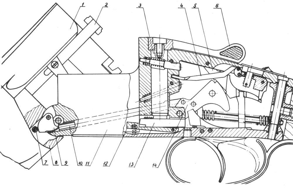 Положение деталей механизмов ружья Иж-27 при открытых стволах.