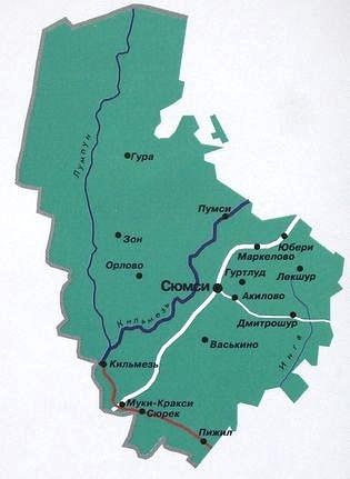 Карта Сюмсинского района.