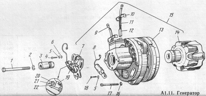 Детали генератора  Г36М7 мотоциклов ИЖ-Планета -5, -4, -3.