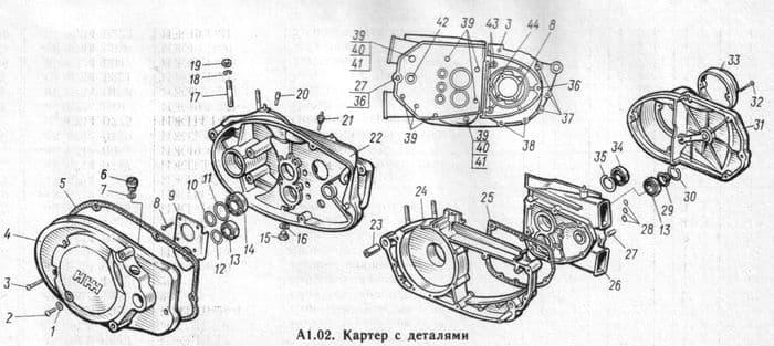 Детали картера двигателя мотоциклов ИЖ-Планета -5, -4, -3.
