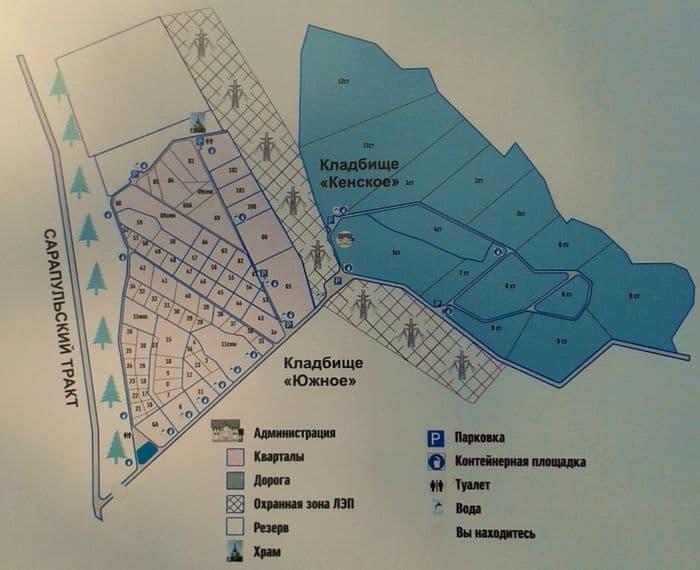 План: кладбище Кенское и Южное. Ижевск.
