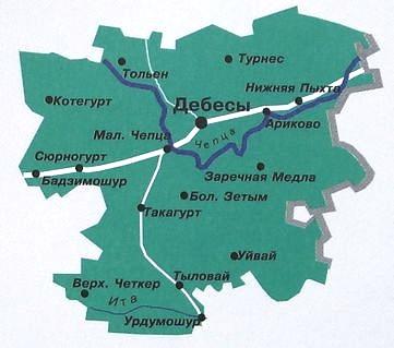 Карта Дебесского района. Удмуртия.