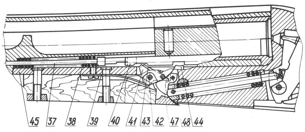 Положение деталей механизма автоматического выбрасывания стреляных гильз в ружье Иж-58МАЕ при спущенных курках.