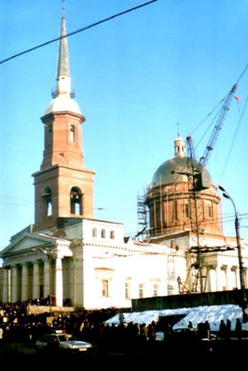 Храм Александра Невского. Воссоздание колокольни и купола в 1994 г. Ижевск.