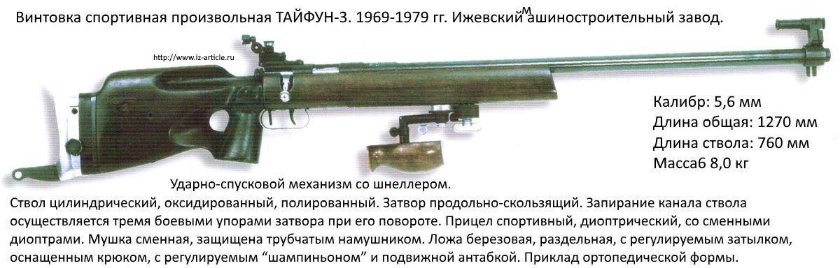 Винтовка спортивная произвольная ТАЙФУН-3. 1969-1979 гг. Ижевский машиностроительный завод.