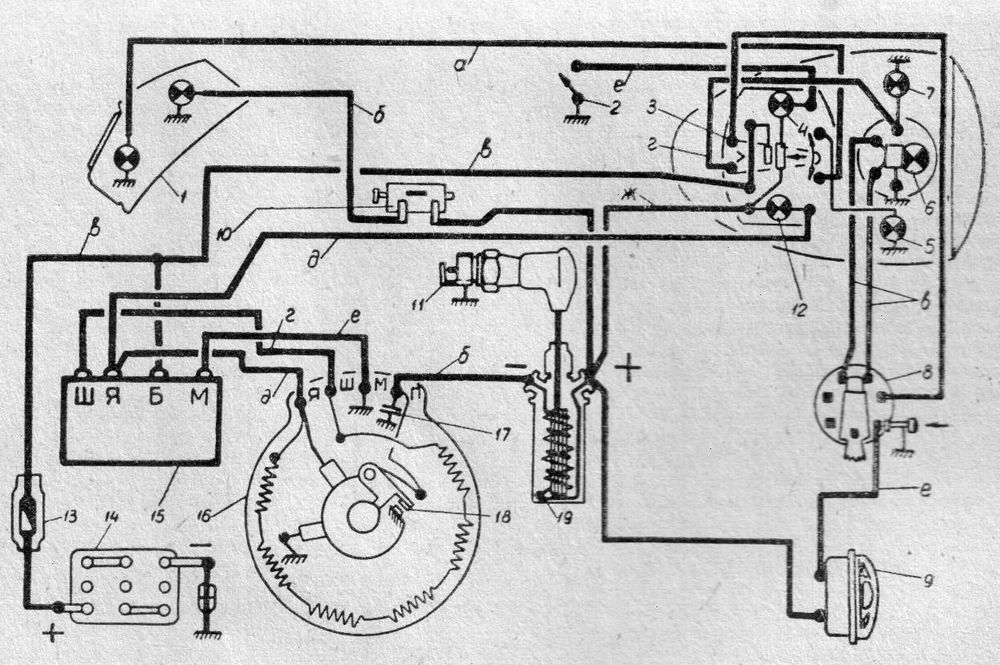 Схема электрооборудования Мототоцикла ИЖ-П2