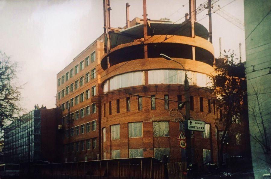 Строительство западного корпуса Центрального банка УР (блок Б). Фото: 1996 год. Ижевск.