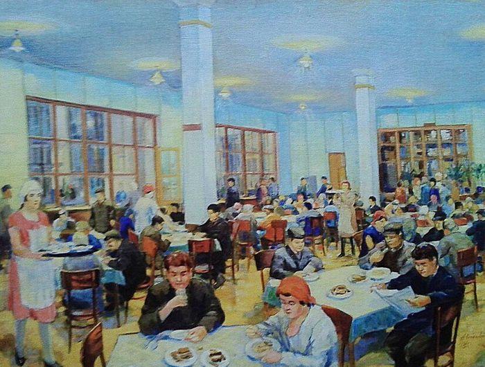 Удмуртский художник Н.А.Косолапов. В рабочей столовой (1931).