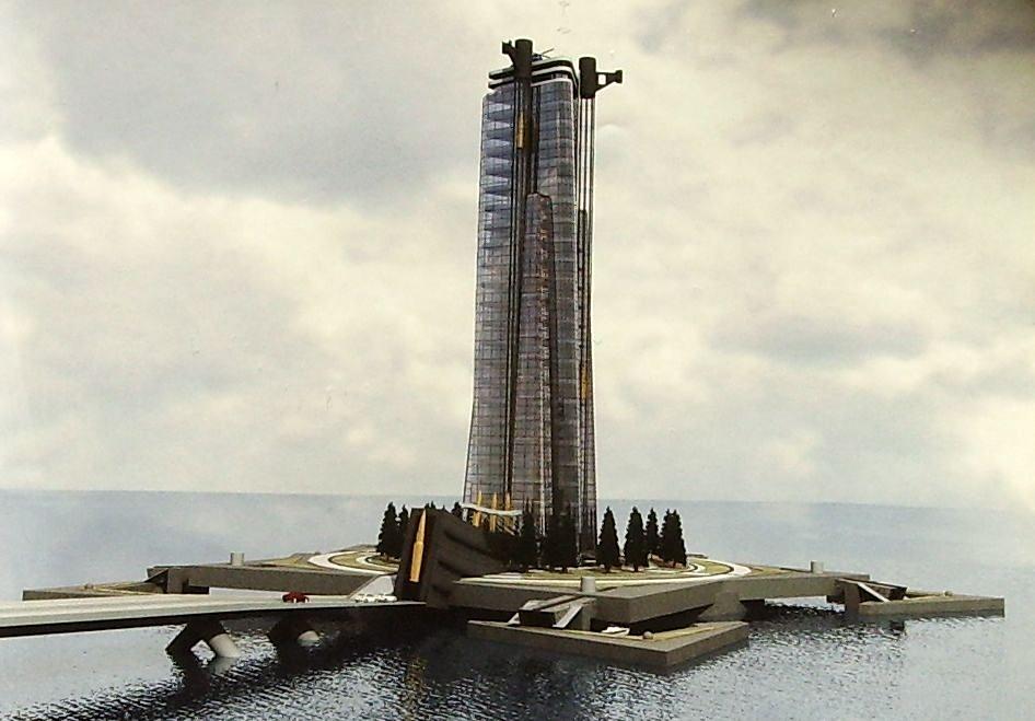 """Проект конгресс-центра """"Калашников"""", инвестиционный проект гостиницы, проект искусственного острова. Ижевск."""