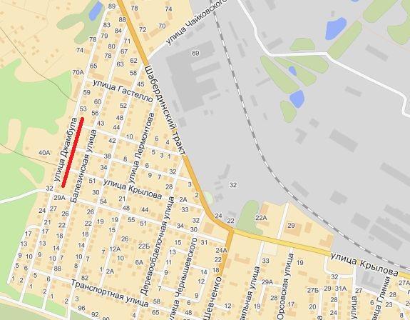Улица Джамбула Джабаева. Ижевск. Карта.