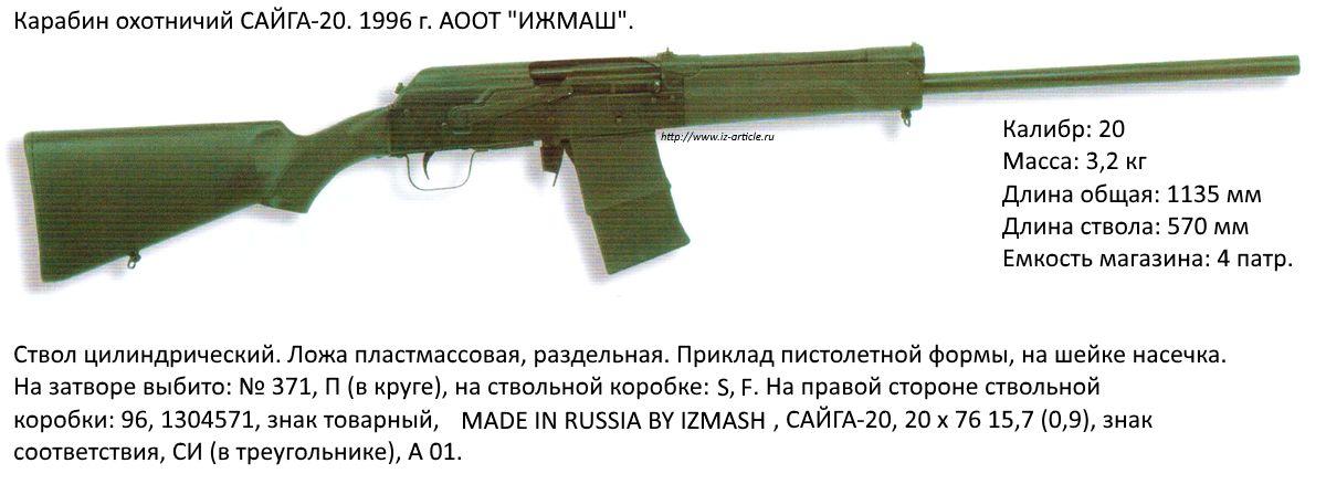 Карабин охотничий  САЙГА-20. 1996 г. АООТ ИЖМАШ.