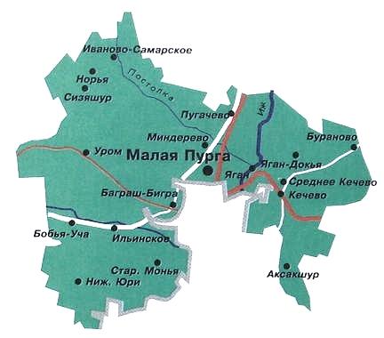 Малопургинский район. Карта.