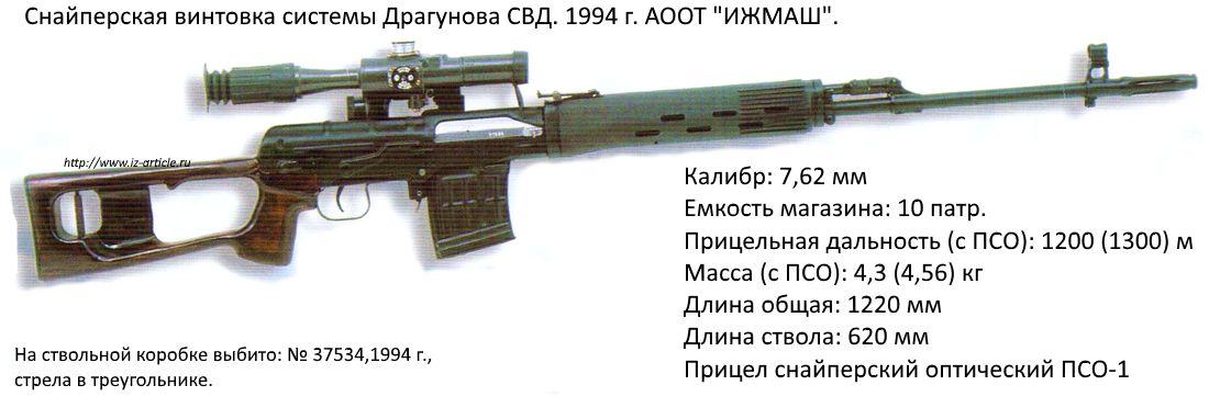 Снайперская винтовка системы Драгунова  СВД. 1994 г. АООТ ИЖМАШ.