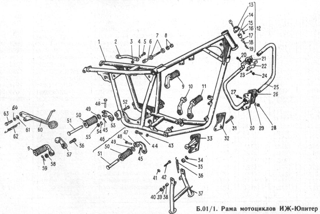 Детали рамы мотоциклов ИЖ-Юпитер -5-01, -5, -4, -3