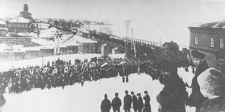 Ижевск. Март 1918 года. Похороны меньшевика Аполлона Сосулина.