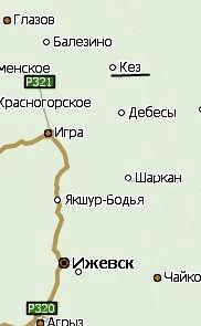Посёлок Кез. Удмуртия. Карта.