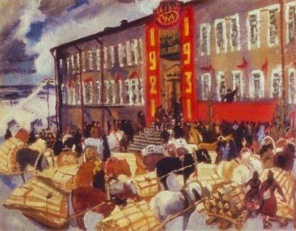 Красный обоз в Ижевске (1931). Полотно московской художницы  Нины Яковлевны Симонович-Ефимовой