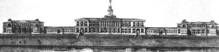 Фасад Ижевского оружейного завода со стороны плотины. Гравюра 1817 года из журнала Вестник Европы №15 и 16.