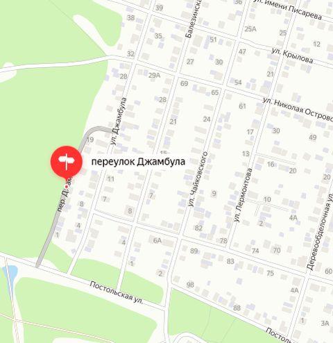 Переулок Джамбула. Ижевск. Карта.