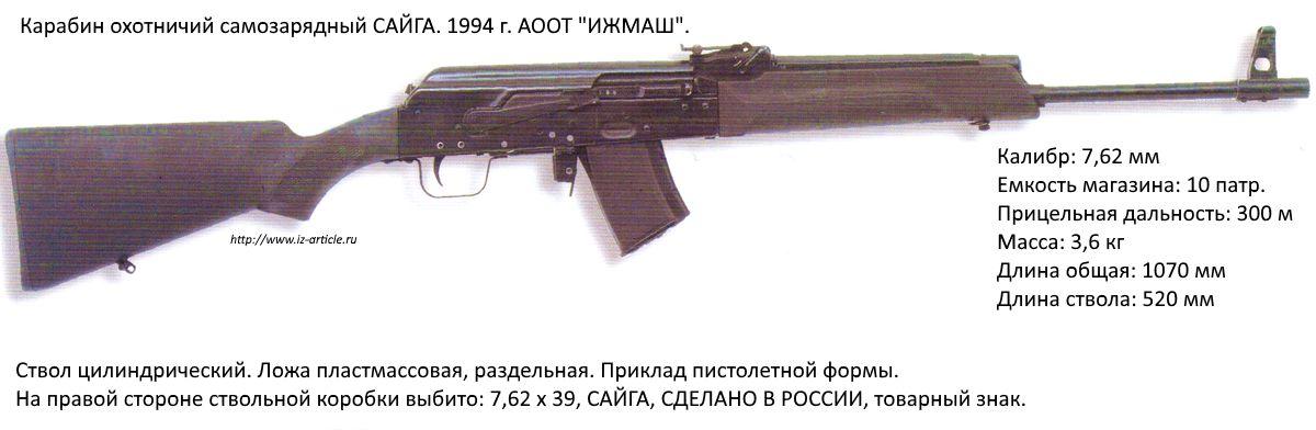 Карабин охотничий самозарядный САЙГА. 1994 г. АООТ ИЖМАШ