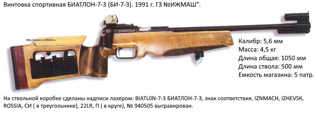 Винтовка спортивная БИАТЛОН-7-3 (БИ-7-3). 1991 г. ГЗ ИЖМАШ.