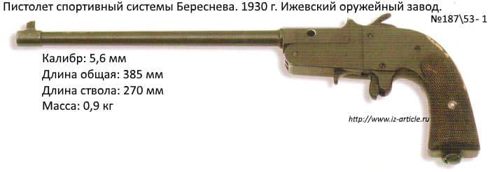 Пистолет спортивный системы Береснева. 1930 г. Ижевский оружейный завод.