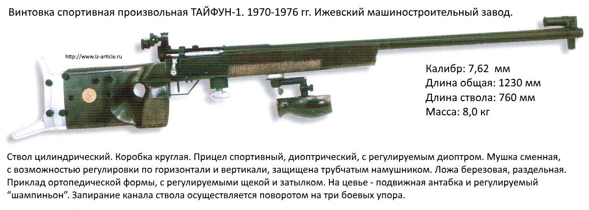 Винтовка спортивная произвольная ТАЙФУН-1. 1970-1976 гг. Ижевский машиностроительный завод.