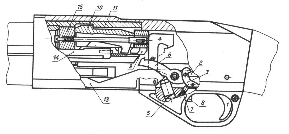 Запирающий и ударно-спусковой механизмы ружья Иж-81.