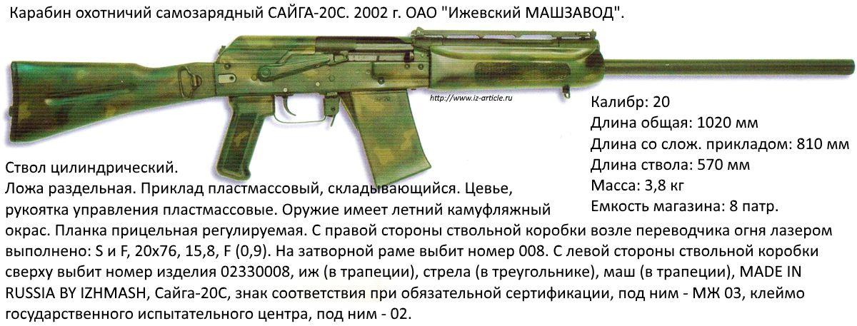Карабин охотничий  самозарядный САЙГА-20С. 2002 г. ОАО Ижевский МАШЗАВОД.